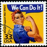 Amerikanische Briefmarke mit einer Frau: »We can do it«